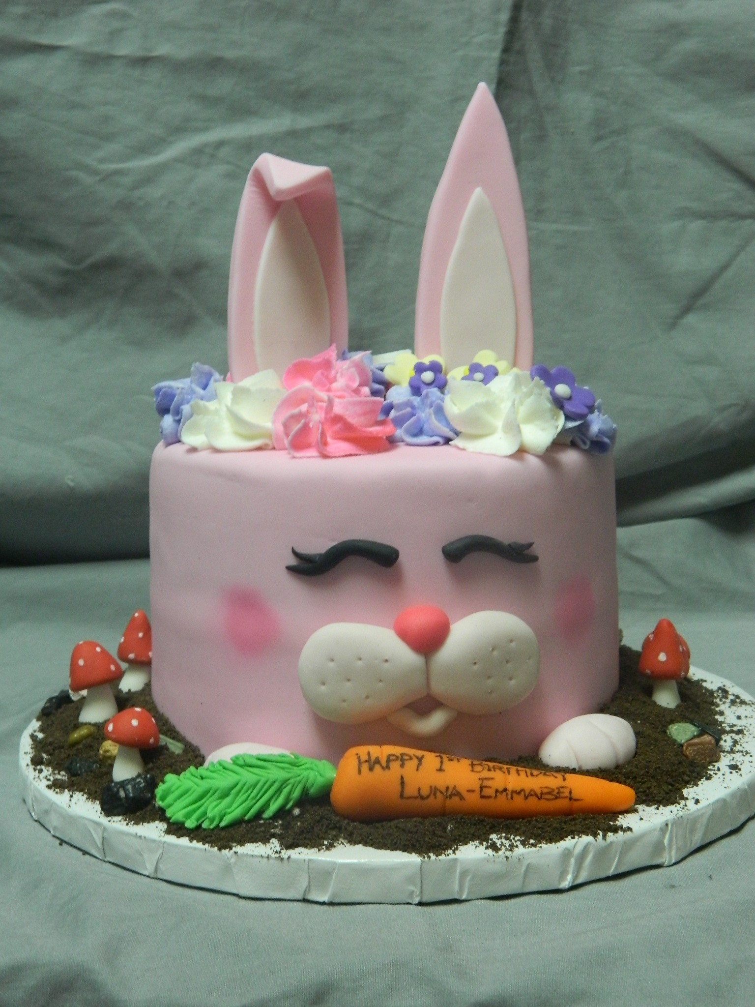 Pink bunny custom 1st birthday cake