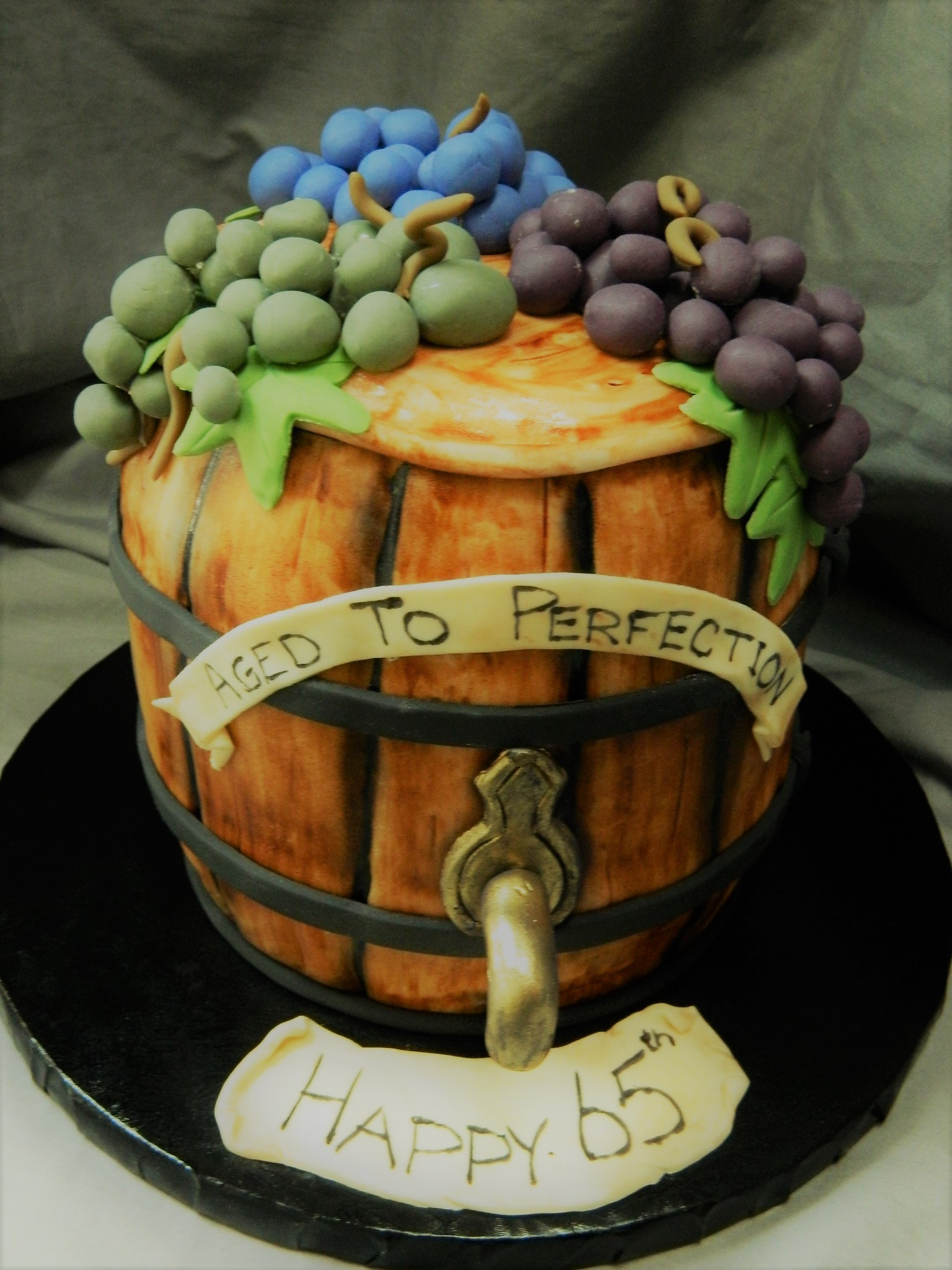 Wine Lover's themed custom birthday cake
