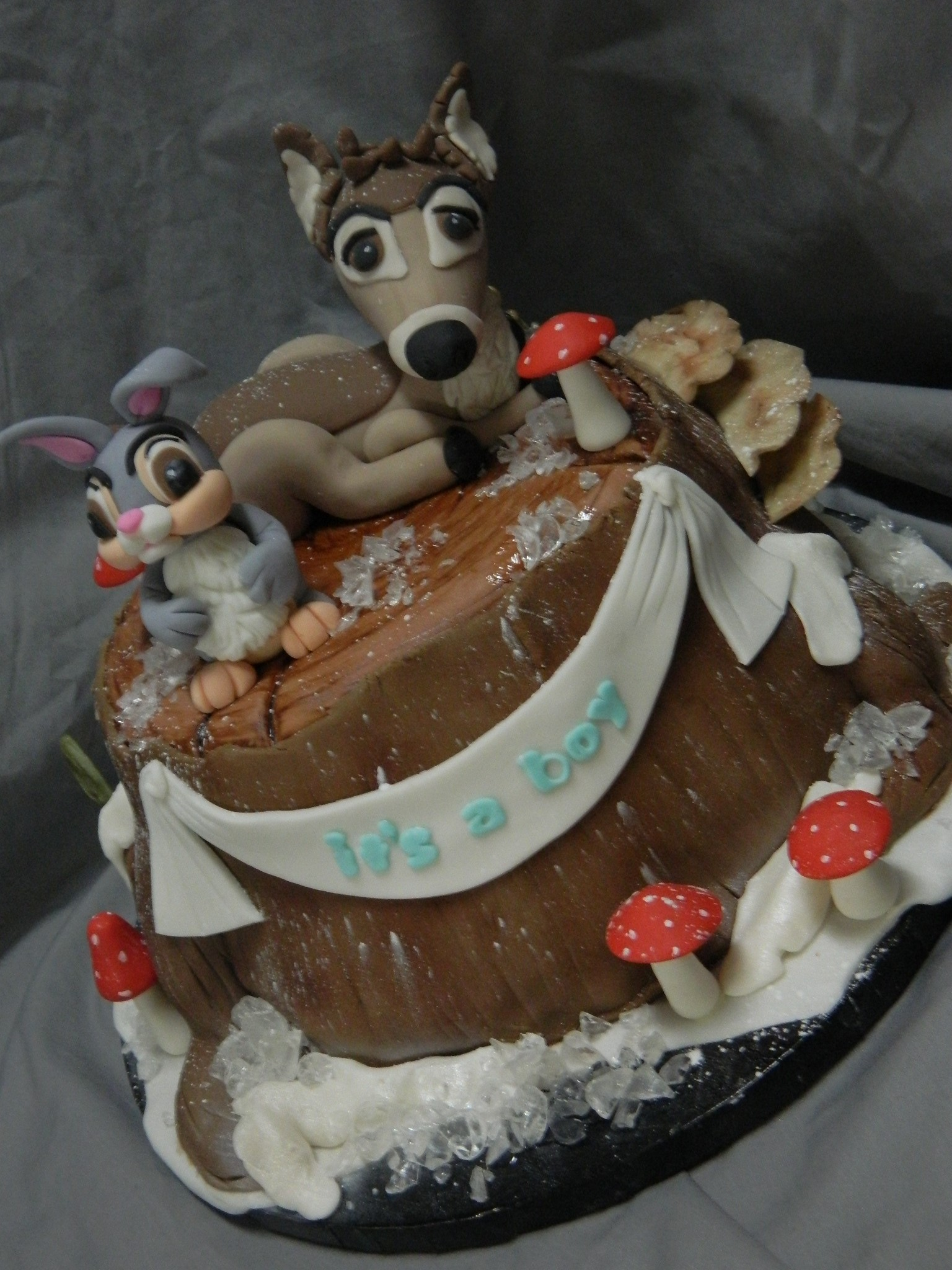 Winter woodland themed custom baby shower cake