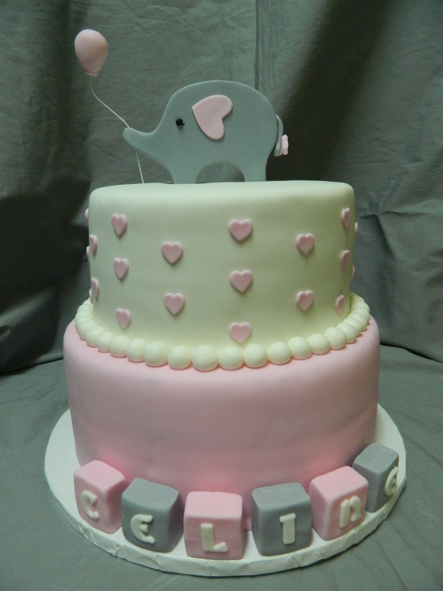 Pink Elephant themed baby shower cake