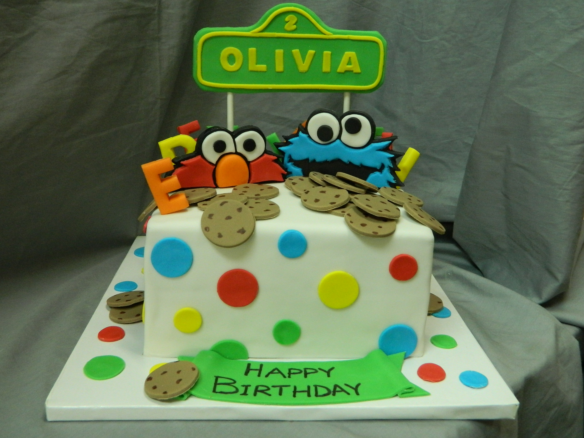 Elmo & Cookie Monster themed birthday custom cake