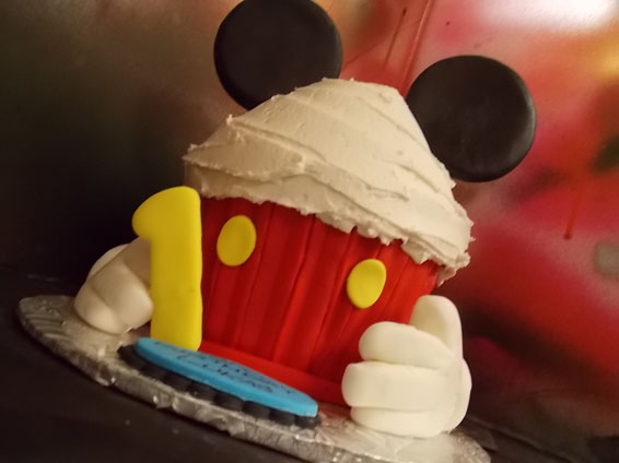 Mickey Mouse themed jumbo cupcake (will feed up to 12 people)