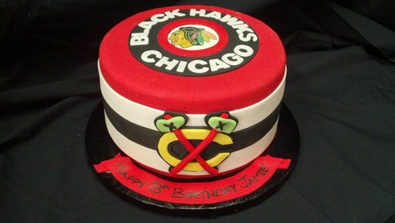 Blackhawks themed custom cake