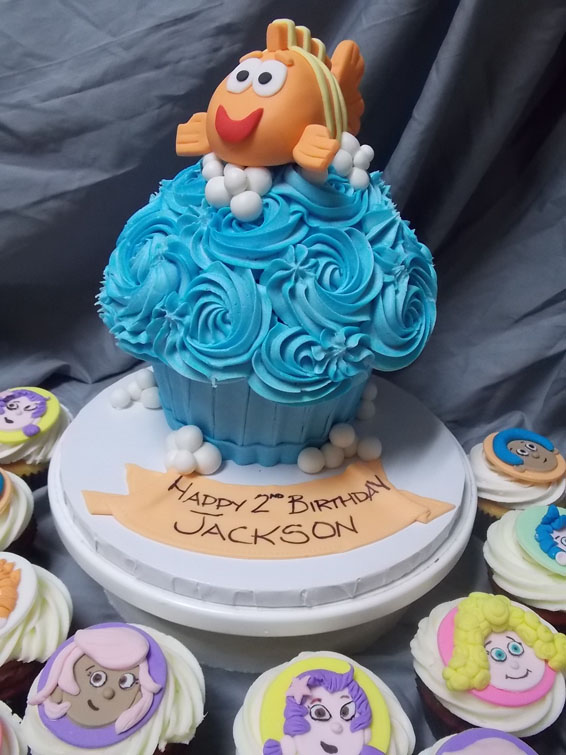Bubble Guppies Jumbo custom cupcake (will serve up to 12 people)