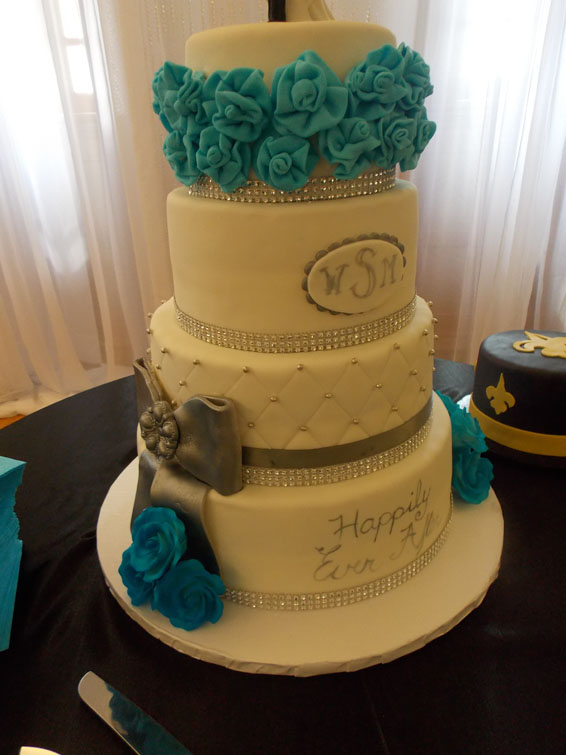 Four tiered custom wedding cake
