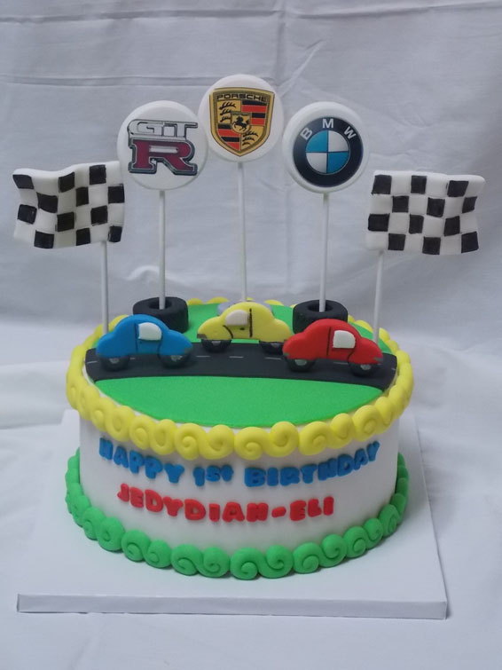 First birthday car themed custom cake