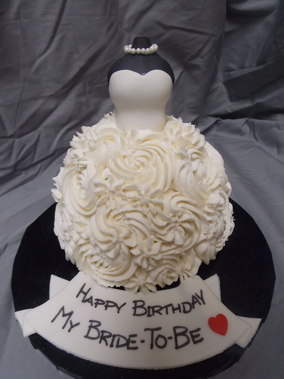 Bridal gown custom cake
