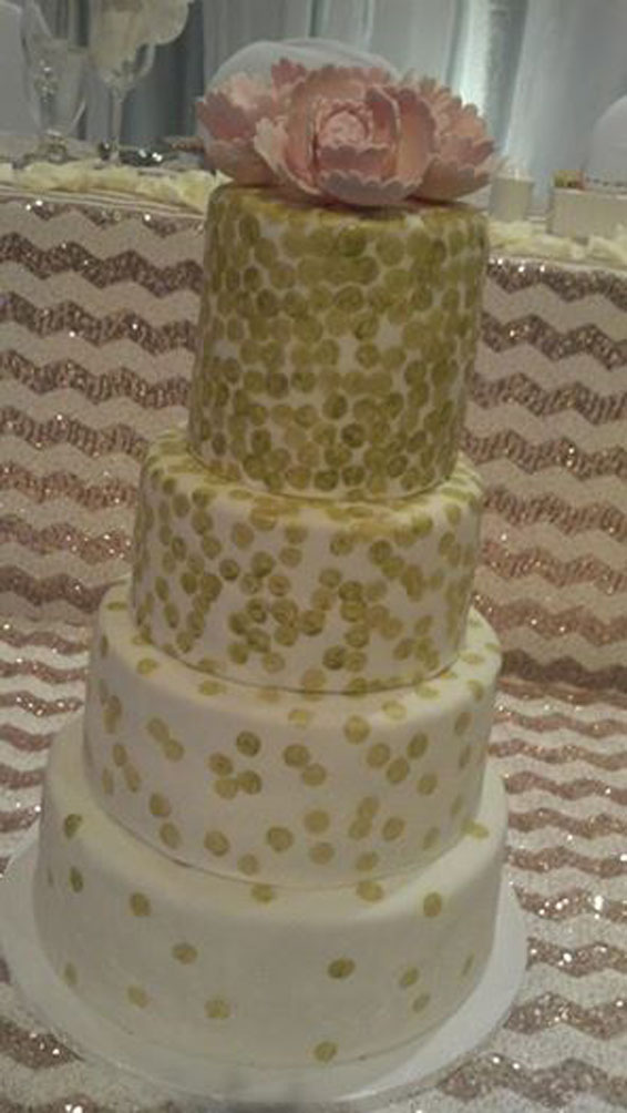 Gold dots and peonies wedding cake