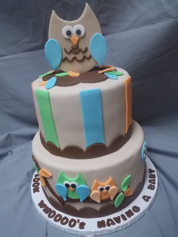 Owl themed baby shower cake