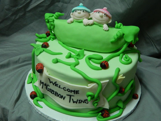 Peapod themed custom baby shower cake