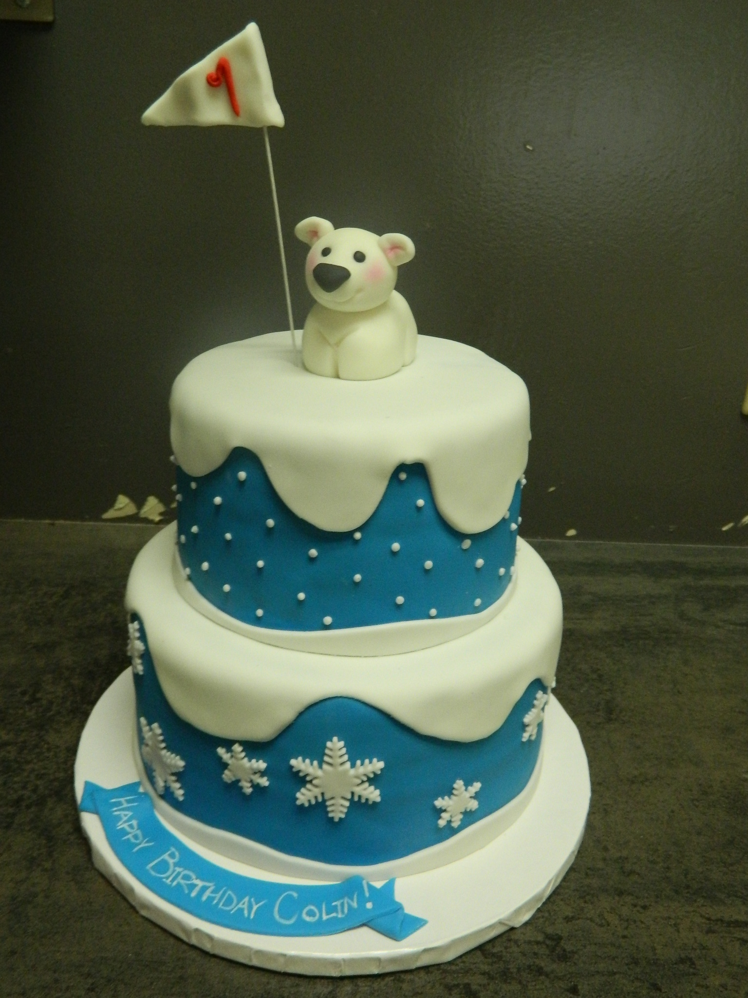Polar Bear custom 1st birthday cake
