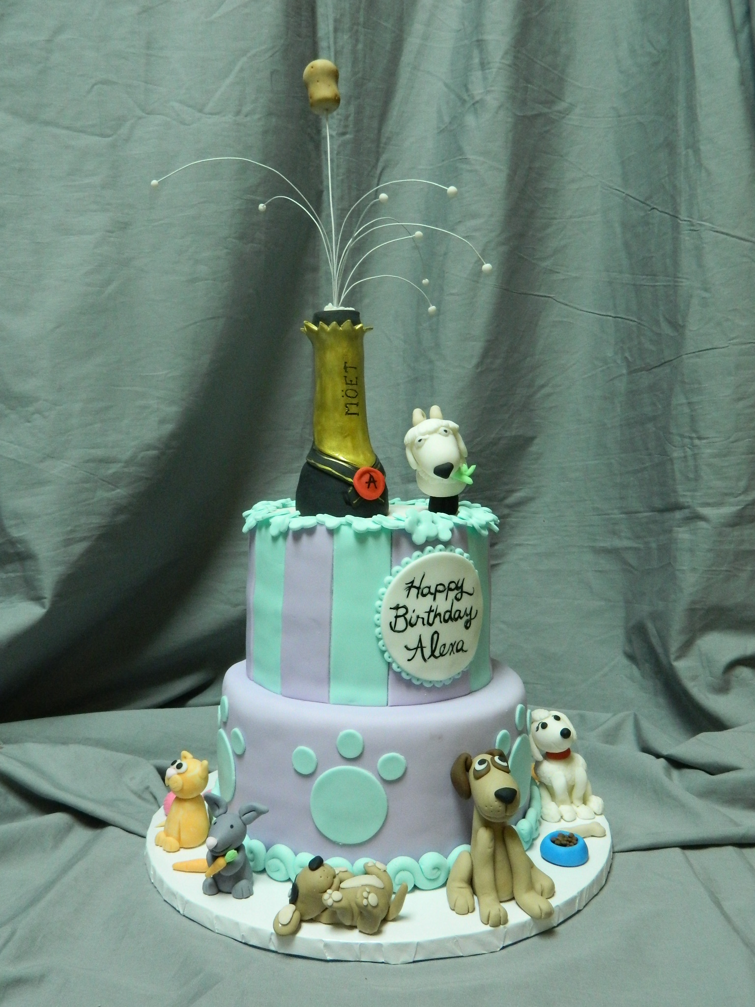 Puppies, kittens, bunnies & a goat celebratory custom birthday cake