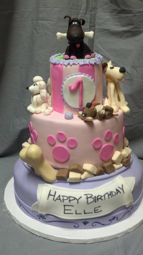 Puppy themed custom cake