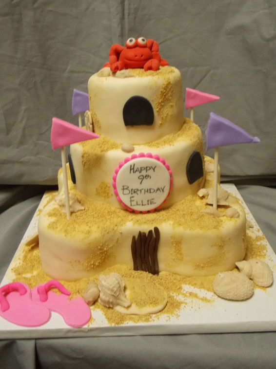 Sandcastle themed custom birthday cake