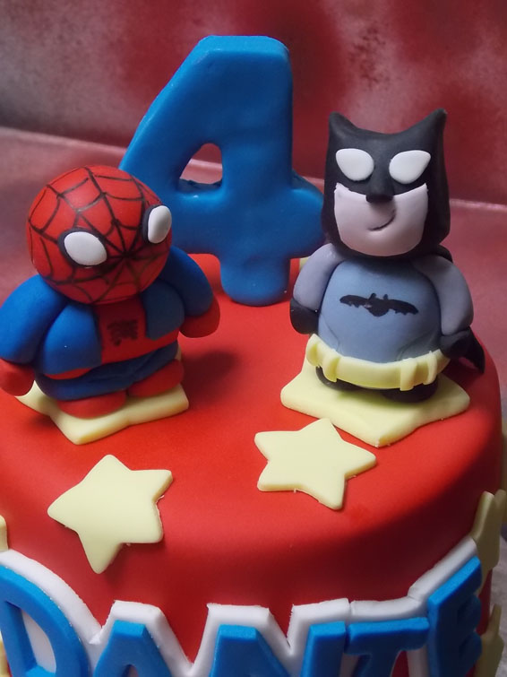 Batman & Spiderman custom cake