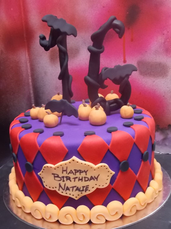 Spooky Sweet 16 birthday cake