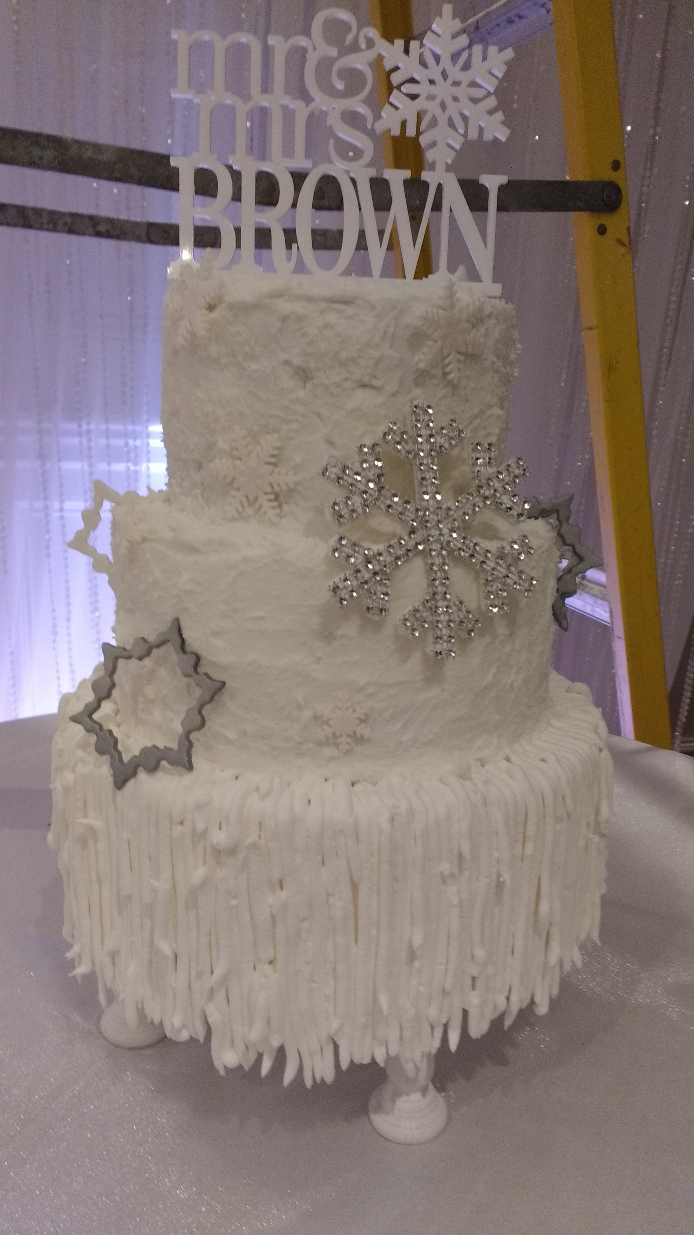 Winter Wedding custom cake