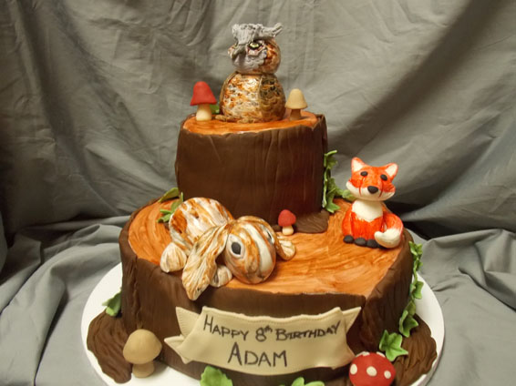 Woodland themed custom birthday cake