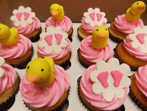 Ducks & Baby Feet shower cupcakes
