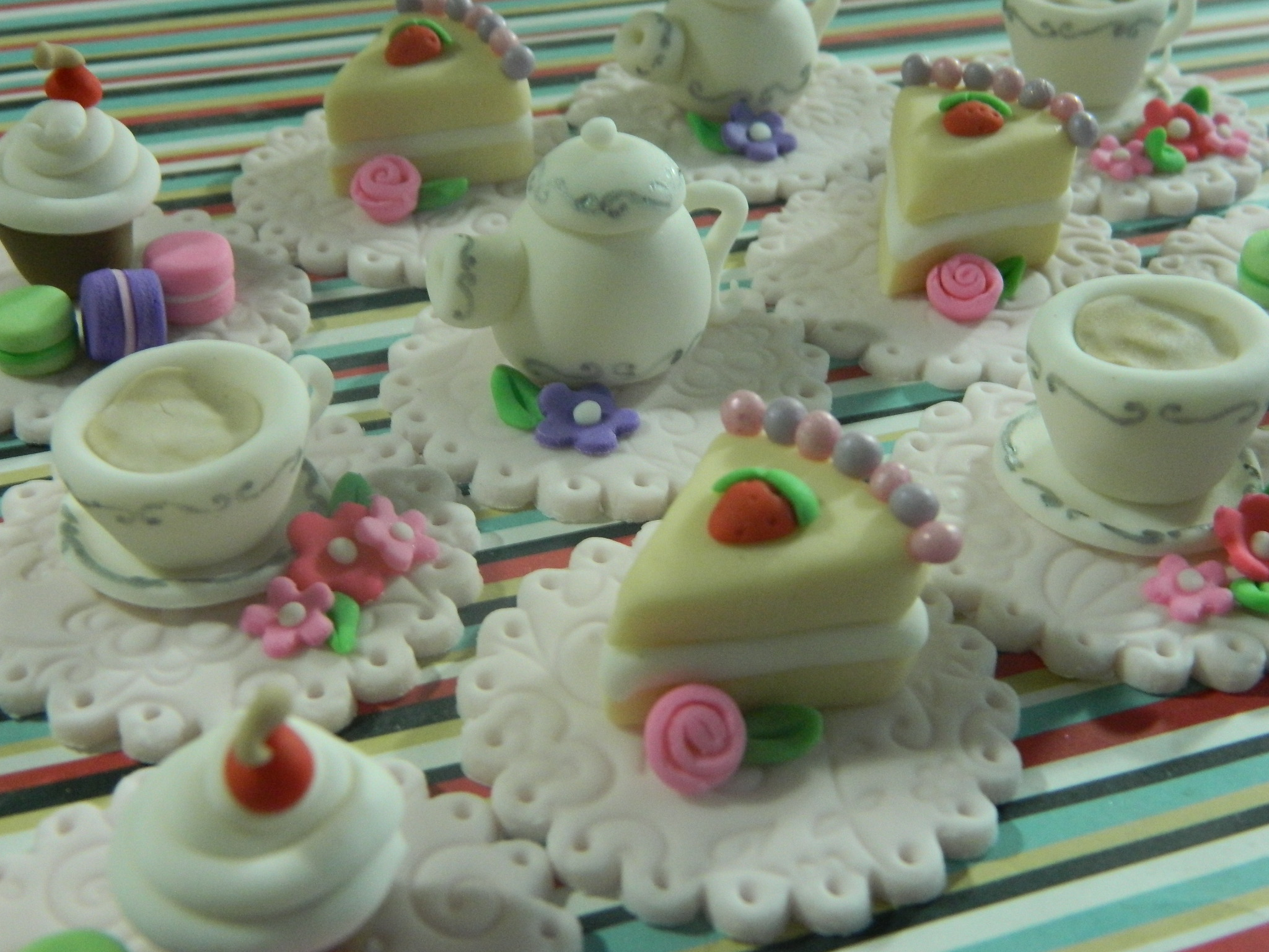 Tea Party themed custom cupcake toppers