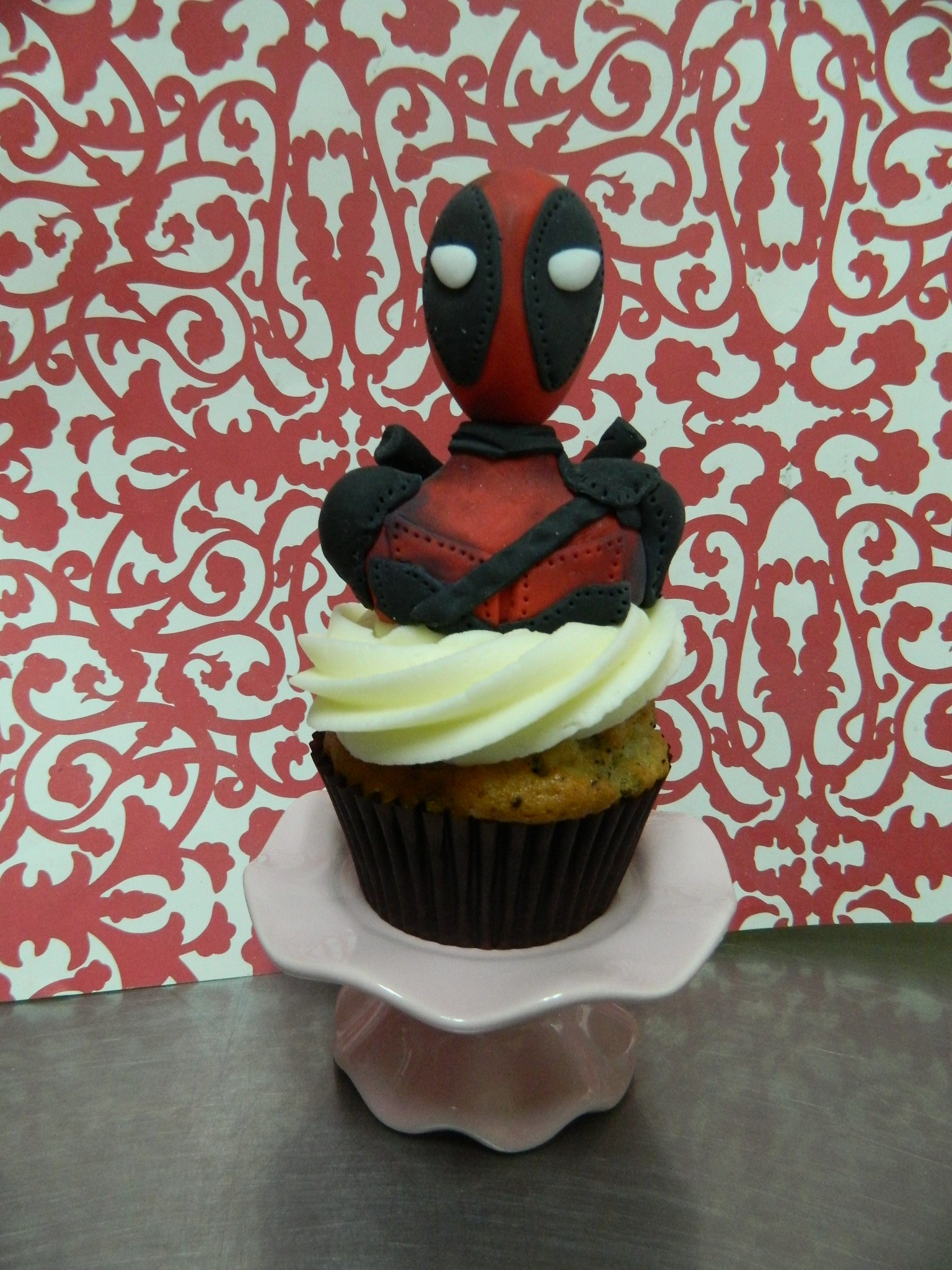 Deadpool themed custom cupcake