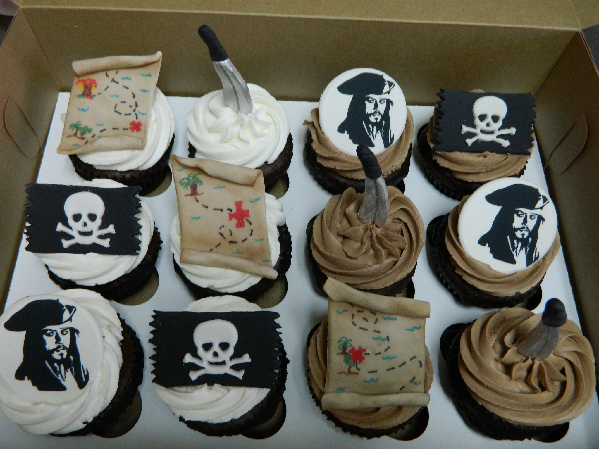 Pirate themed custom cupcakes (this was for a wish reveal for Make-a-Wish)