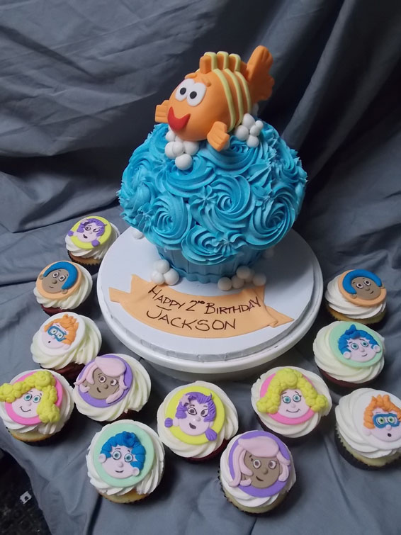 Bubble Guppies themed hand cut cupcake toppers