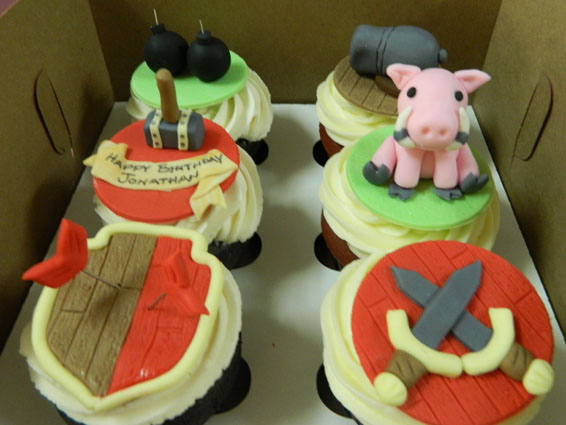 Clash of the Clans themed custom cupcakes