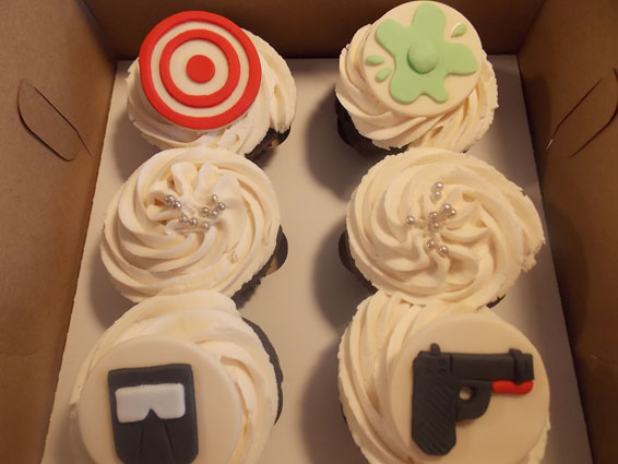Paintball themed custom cupcakes