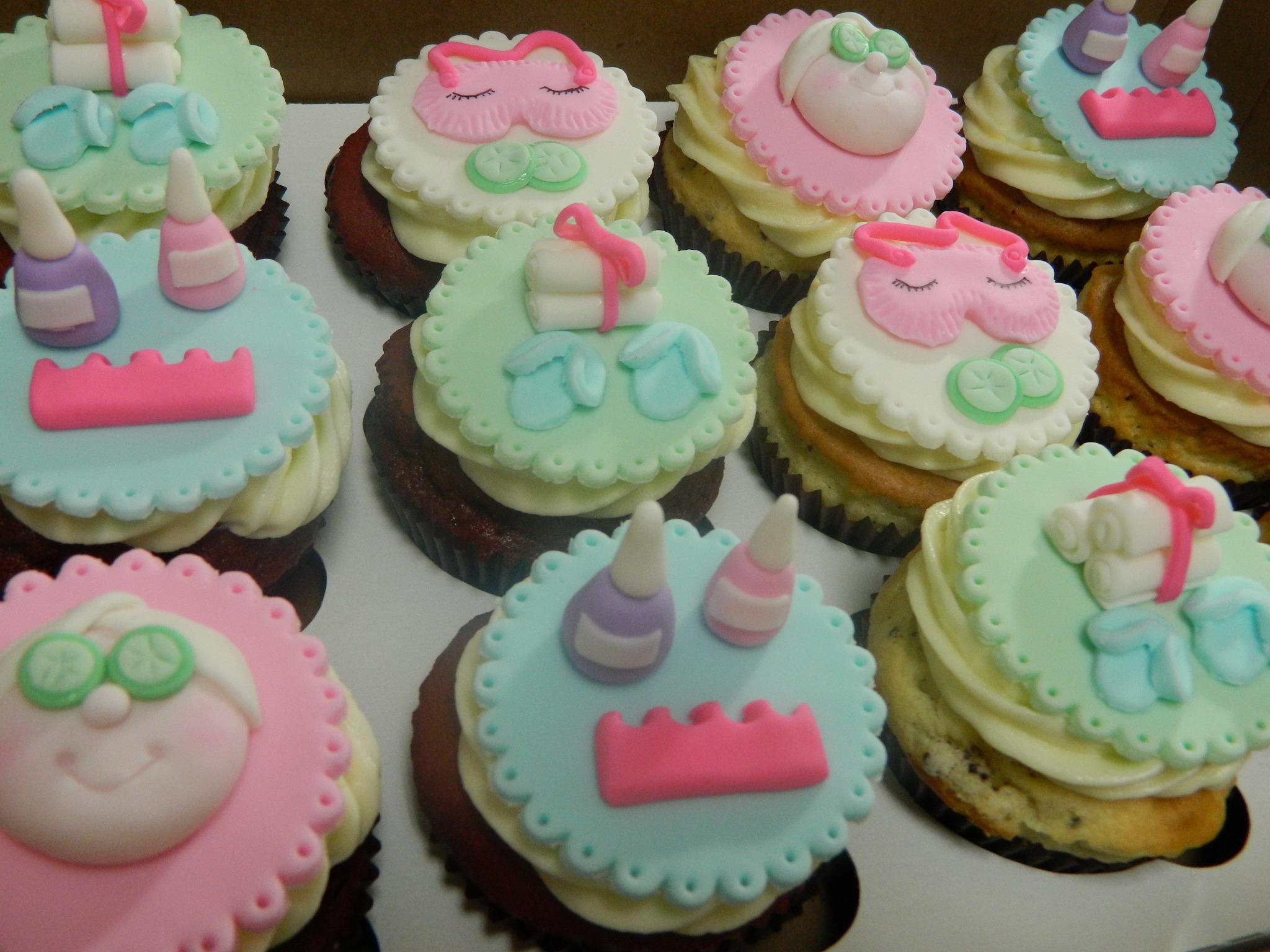 Spa themed custom cupcakes Hey Cupcake