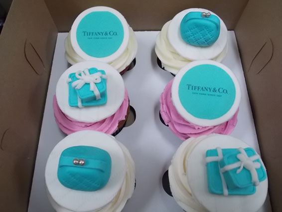 Tiffany & Co. themed custom cupcakes