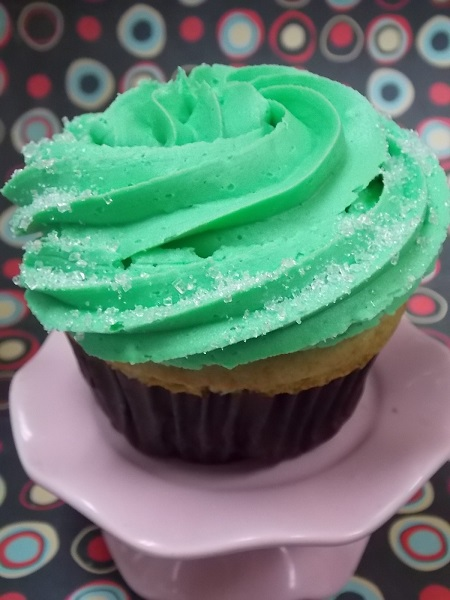 Margarita cupcake topped with lime buttercream